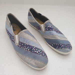 KEDS Cushioned Insole Canvas Striped Slip on Shoes